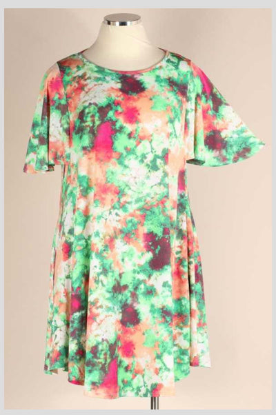 PSS-B {Watermelon Patch} Green/Peach Watercolor Dress EXTENDED PLUS SIZE 3X 4X 5X SALE!!