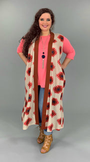 OT-M (Electric Dreams) Aztec Multi Print Cardigan PLUS SIZE 2X/3X