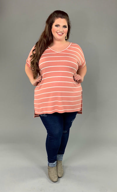 PSS-H {9 to 5 Girl} Ash Rose Striped Hi-Lo Top with V-Neck PLUS SIZE