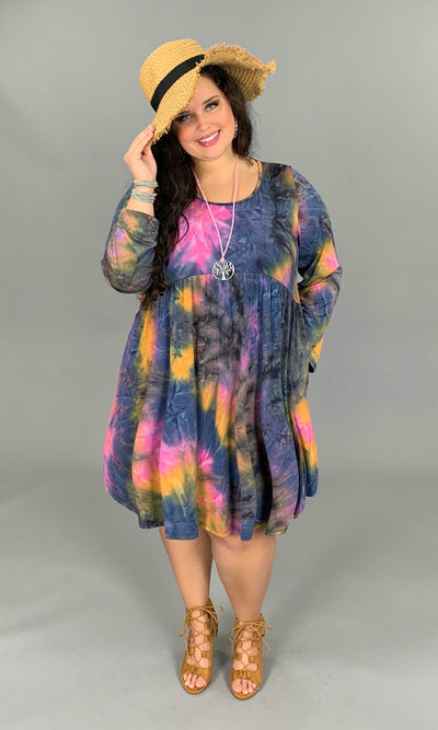 PLS-M {Peace Of Mind} Tie-Dye Babydoll Dress with Pockets PLUS SIZE 1X 2X 3X