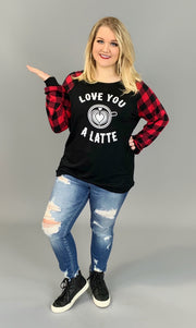 "GT-M  ""Love You A Latte"" Black Top with Plaid Sleeves  SALE!!"