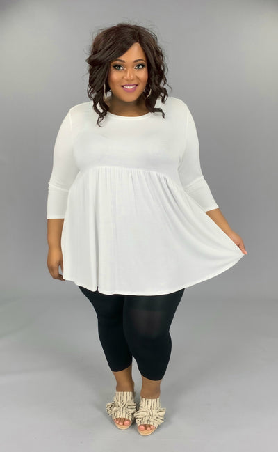 SQ-Q (Step Aside) Ivory Babydoll Tunic W/ 3/4 Sleeves EXTENDED PLUS SIZE 1X 2X 3X 4X 5X 6X