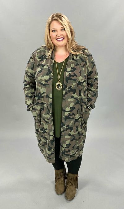 11-14 OT-F {Walk The Walk} Camo Cardigan EXTENDED PLUS SIZE 3X 4X 5X