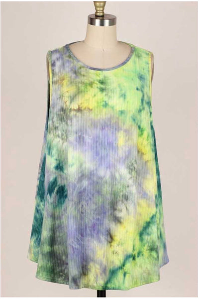 53 SV-E {Tie Dye Bliss} Green Purple Yellow Tie Dye Tunic Extended Plus 3X 4X 5X