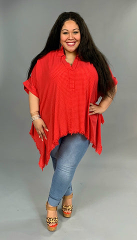 "PSS-O {Summer Picnic} ""UMGEE"" Red Tunic with Frayed Hem"