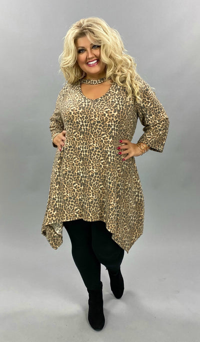 20 PQ-A {Soft Kitten} SALE!!  Animal Print Bar Neck Soft Knit Tunic CURVY BRAND EXTENDED PLUS SIZE 3X 4X 5X 6X
