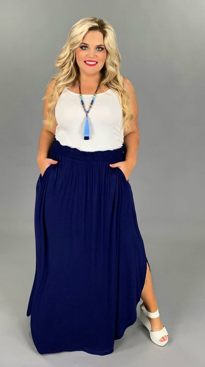 BT-N {Gypsy Queen} Navy Skirt with Uneven Rounded Hem PLUS SIZE 1X 2X 3X