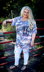 OS-A {Sweet Sophistication}  Grey Tan Blue Tie Dye Tunic CURVY BRAND EXTENDED PLUS SIZE 3X 4X 5X 6X