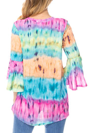PQ-C {Chasing Rainbows} Pastel Tie-Dye Top PLUS SIZE 1X 2X 3X