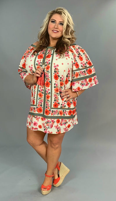 "OS-U {Big Flirt} ""UMGEE"" Ivory Floral Dress with Lining SALE!"