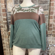11-14 CP-F {Camo Duty} Green Brown Camo Top PLUS SIZE XL 2X 3X