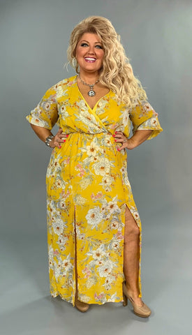 LD-G {Through It All} Yellow Floral Dress with Front Slits/Mini Slip