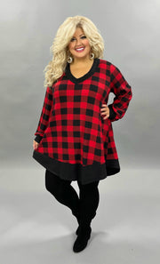 32 CP-F {Holiday Dreams} Red Black Plaid V-Neck Tunic  CURVY BRAND EXTENDED PLUS SIZE 3X 4X 5X 6X