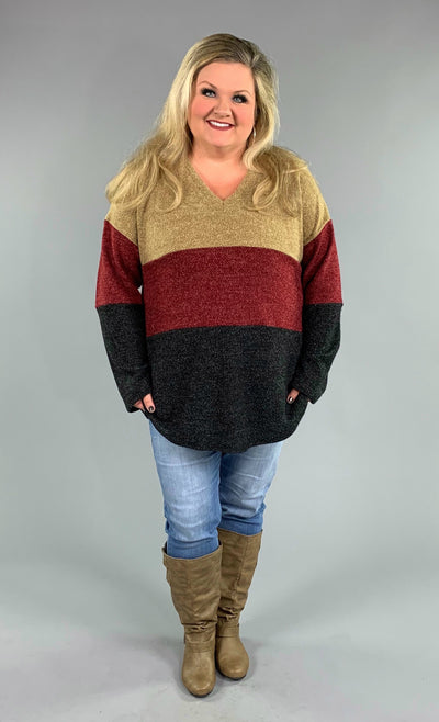 CP-M {Someone You Love} Colorblock Soft Knit V-Neck Sweater  SALE!!