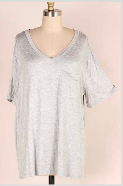 SSS-C {Dream Big} Gray V-Neck Top with Pocket