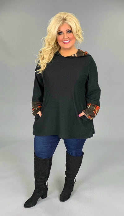 HD-S {Chasing The Holidays} Black Hoodie with Plaid Detail Extended Plus SALE!!