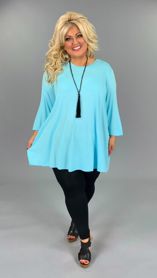 SQ-I (Cover Basics) Blue Quarter Sleeve Tunic  EXTENDED PLUS 3X 4X 5X 6X  CURVY BRAND