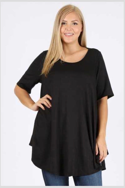SSS-O {Out For The Night} Black Round Hem Tunic EXTENDED PLUS SIZE 3X 4X 5X