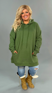 HD-J {Having A Blast} OLIVE Long Hoodie with Pockets SALE!