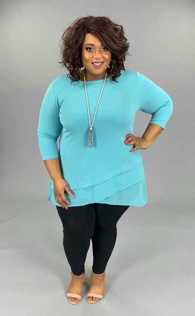 SQ-W (Sophisticated Girl) Ash Mint Tunic With Sheer Detail PLUS SIZE 1X 2X 3X (FLASH SALE)