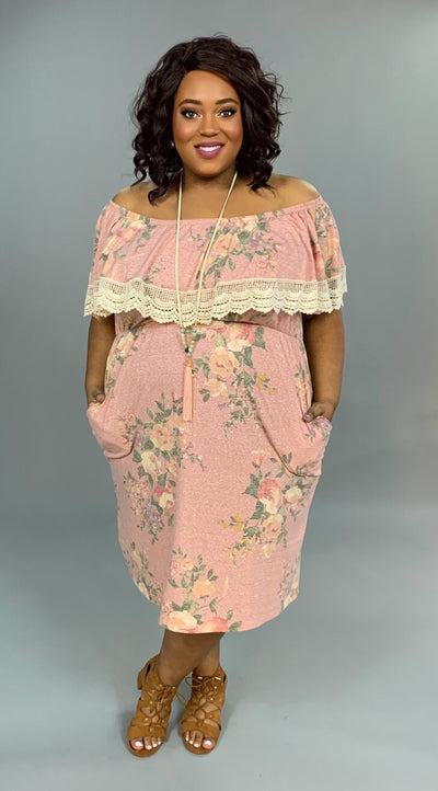 OS-L {American Girl} Floral Maxi Dress with Crochet Detail FLASH SALE!!