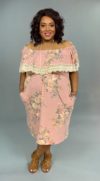 OS-L {American Girl} Floral Maxi Dress with Crochet Detail