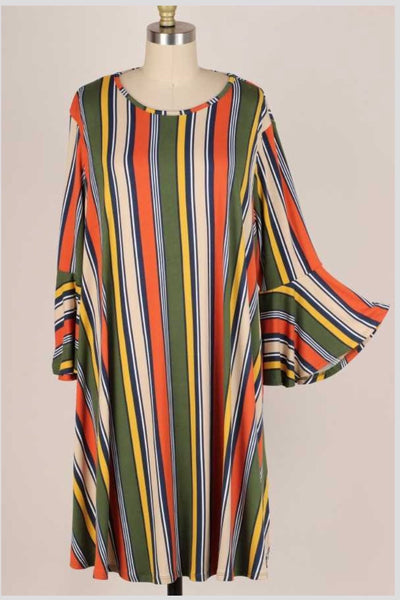 49 PQ-C {Open Road} Rust Navy Green Vertical Stripe Dress EXTENDED PLUS SIZE 3X 4X 5X