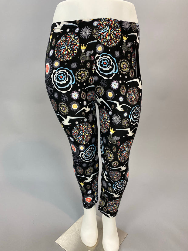 Leg-9 {Fairy Tale} Multi-Print Capri Leggings EXTENDED PLUS SIZE