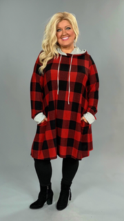 HD-S {This Is It} Black/Red Plaid Stretchy Knit Dress with Hood