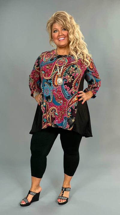 CP-H {Copy My Style} Magenta Paisley Top with 3/4 Sleeves EXTENDED PLUS SIZE 3X 4X 5X