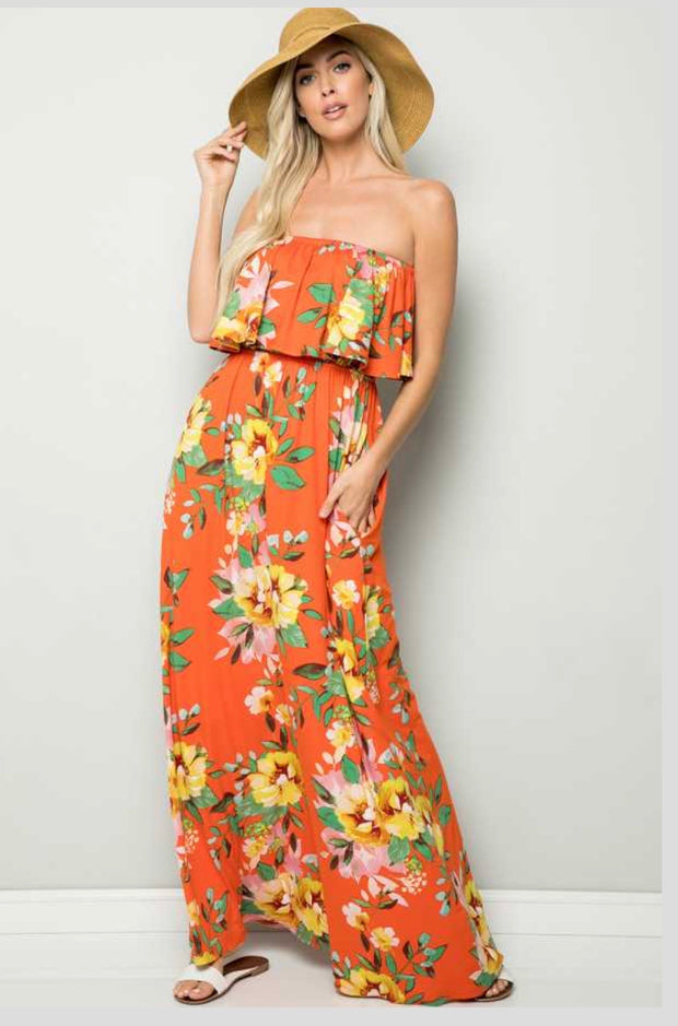 LD-M/B {1st Flight To Maui} Citrus Orange Floral Maxi Dress  PLUS SIZE 1X 2X 3X SALE!!