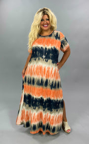 LD-S {Late Summer Days}  SALE!! Orange Navy Tie Dye Maxi Dress CURVY BRAND EXTENDED PLUS SIZE 3X 4X 5X 6X