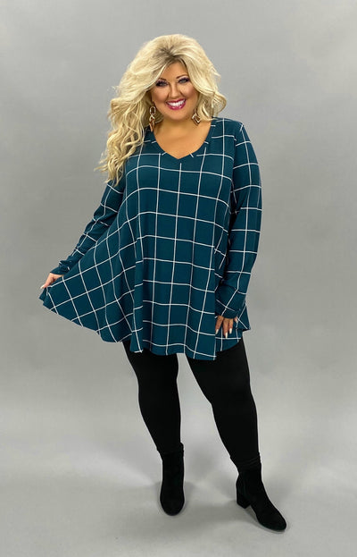 11-03 PLS-Q {Focused On Me} Dark Teal White Detail Top EXTENDED PLUS SIZE 3X 4X 5X