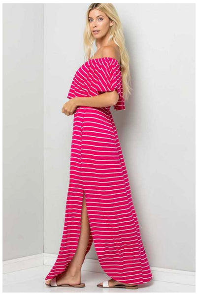 LD-X {Good Vibrations} Magenta/White Stripe Maxi Dress PLUS SIZE 1X 2X 3X
