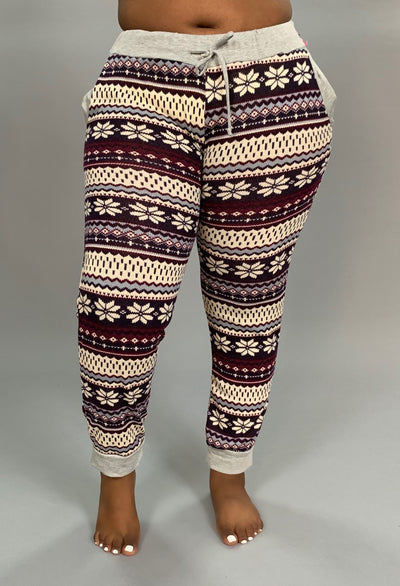 BT-C Plum/Ivory Snowflake Print Jogger Pants with Pockets SALE!!