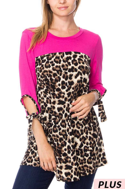 CP-A {On The Runway} Pink Leopard Tie Sleeve Tunic EXTENDED PLUS 3X 4X 5X 6X