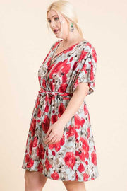 PSS-C{Poppy's In Bloom}Sky Blue Floral Dress PLUS SIZE 1X 2X 3X