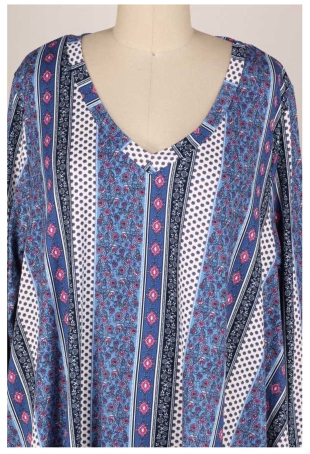 PLS-D {Own It} Blue & Rose Multi Print V-Neck Tunic EXTENDED PLUS SIZE 3X 4X 5X