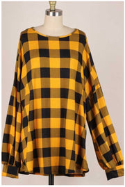 11-03 PLS-M {My Main} Yellow Black Plaid Top EXTENDED PLUS SIZE 3X 4X 5X