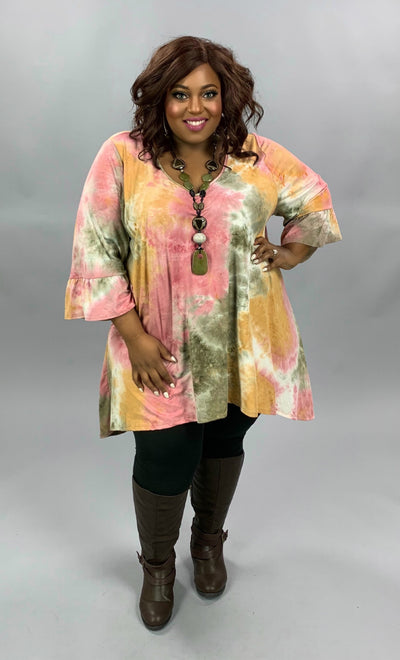 PQ-M {Bare Your Soul} Olive Pink Tie Dye Hi Low Tunic BUTTER SOFT CURVY BRAND EXTENDED PLUS SIZE 3X 4X 5X 6X