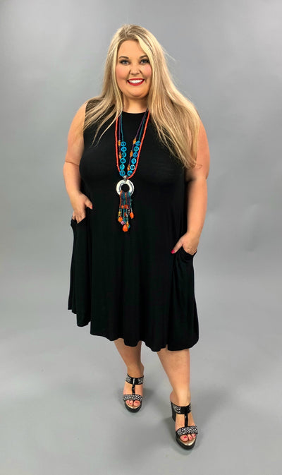 SV-K {Cool Summer} Black Sleeveless Dress Extended Plus Size 3X 4X 5X SALE!!