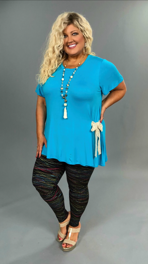 SD-N {Downtown Sway} Turquoise Top with Crochet Detail