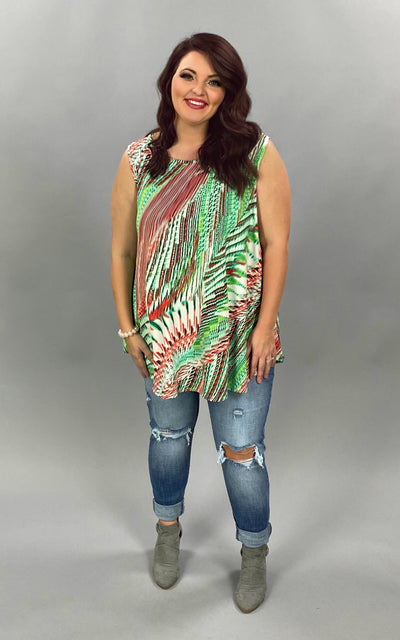 SV-C {Watermelon Treat} Green/Rust Print Sleeveless Tunic EXTENDED PLUS SIZE 3X 4X 5X SALE!!