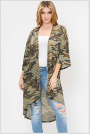 OT-W {In The Army Now} Camoflauge Sheer Long Cardigan PLUS SIZE 1X 2X 3X