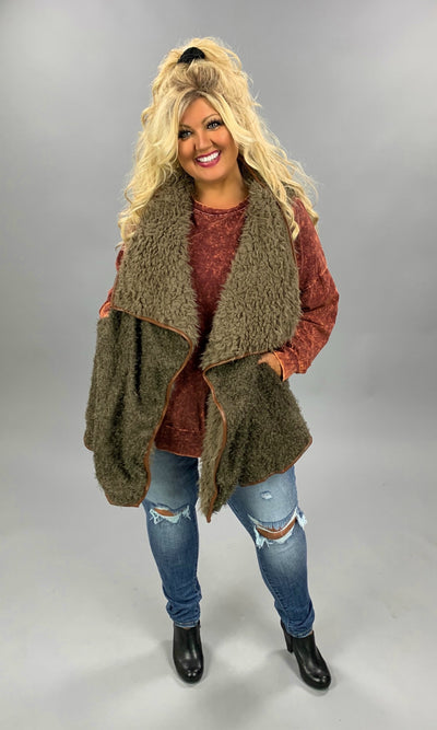 OT-F {Playful Attention} Mocha Loose Fit Faux Fur Vest PLUS SIZE 1X 2X 3X