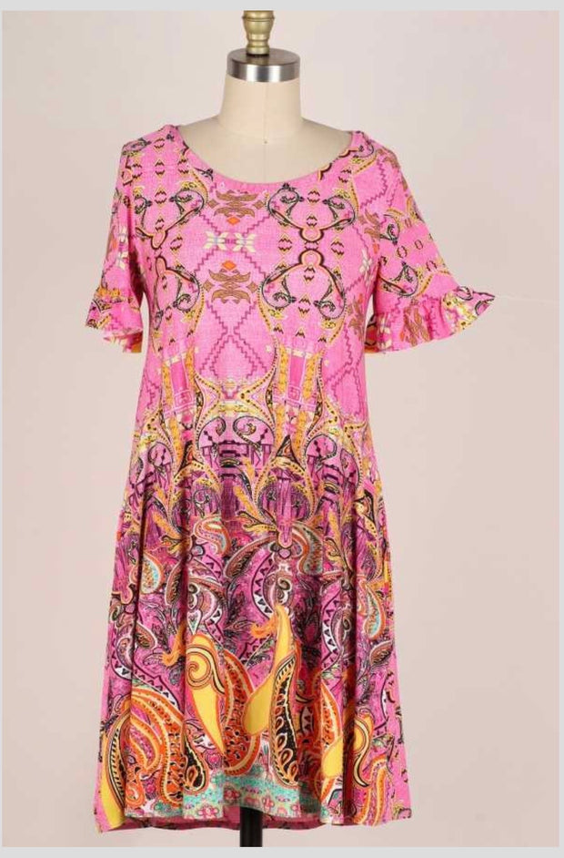 61 LD-E {Royal Treatment} Pink Dress with Pockets PLUS SIZE 1X 2X 3X