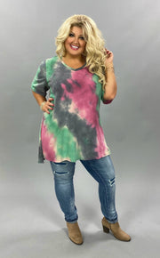 PSS-Z {Early Start} Green Pink Tie Dye V-Neck Tunic CURVY BRAND EXTENDED PLUS SIZE 3X 4X 5X 6X