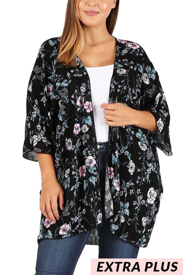 OT-O (Moment To Shine) Black Cardigan With Floral Print EXTENDED PLUS SIZE 3X 4X 5X