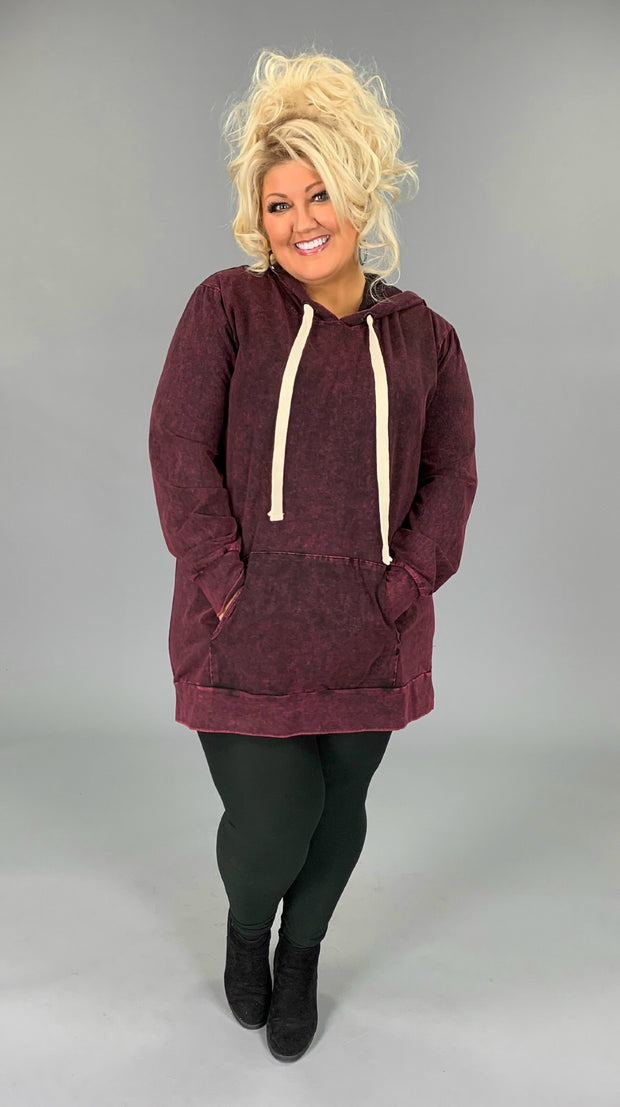 HD-A {Bonfire Nights} Burgundy Mineral Wash Hoodie SALE!