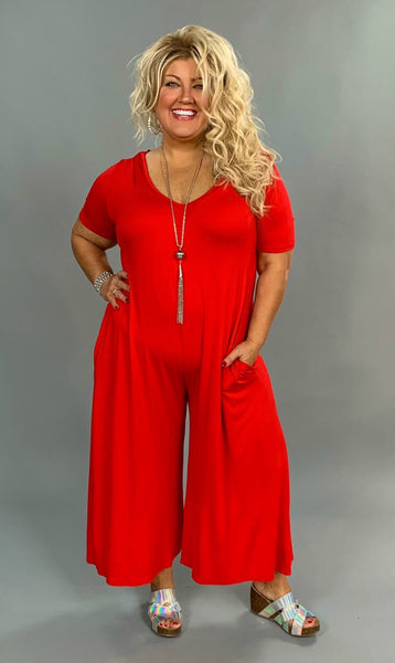 RP-P {Be Original} Red Hooded Capri Jumpsuit w Pockets